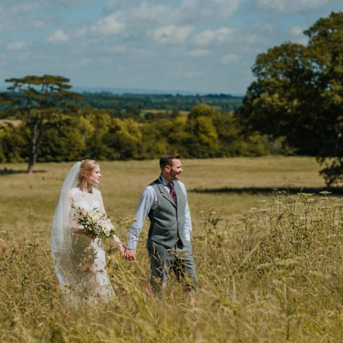 Bride and groom portrait in Homme House parkland