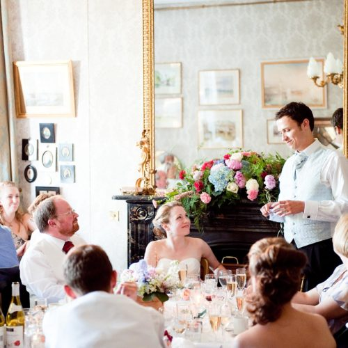 Groom giving wedding speech in Dining Room at Homme House