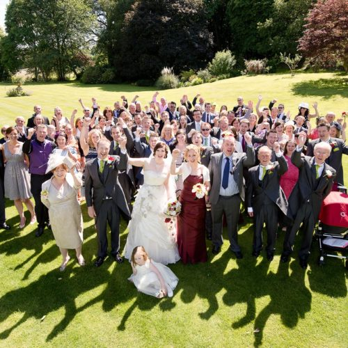 A group photograph at a wedding at Homme House