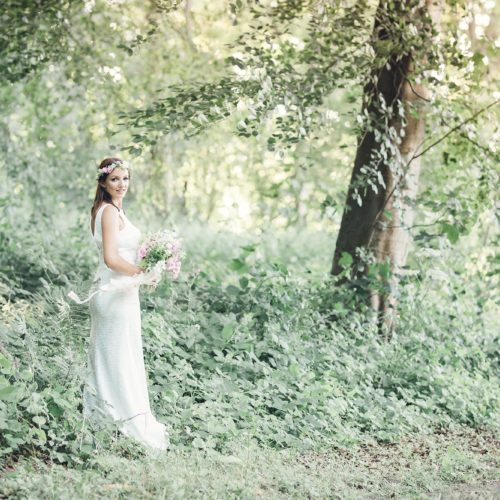 Bridal portrait in Homme House woodland