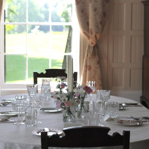 Dining table in the Panelled Room at Homme House