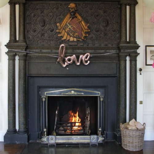 Panelled Room fireplace at Homme House decorated for a wedding