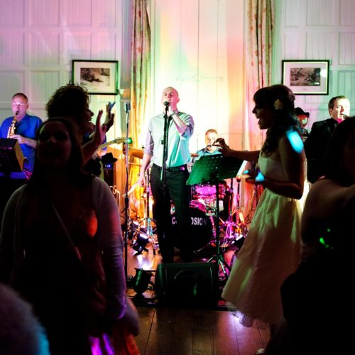 Wedding band playing in the Panelled Room
