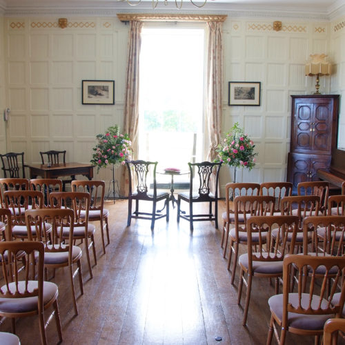 Panelled Room at Homme House ready for a wedding ceremony