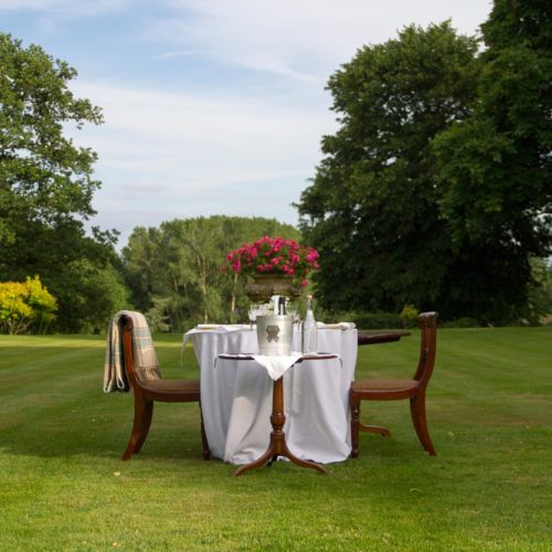 Elegant picnic furniture set up on the lawn at Homme House