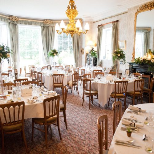 Wedding breakfast tables in the Dining Room at Homme House