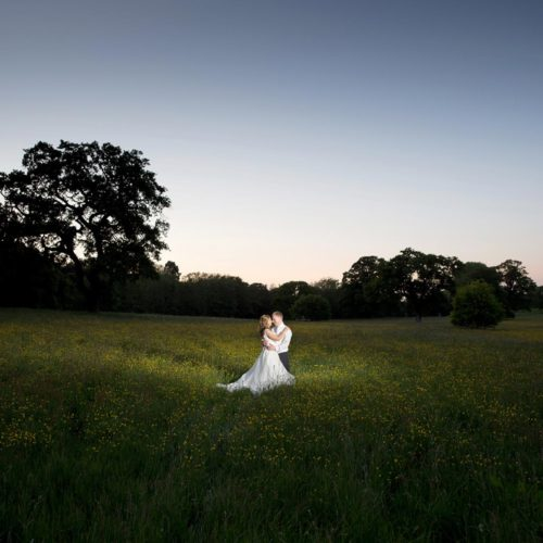 Wedding couple portrait in long Homme House parkland grass in the evening