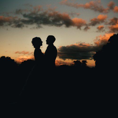 Wedding couple portrait evening silhouette