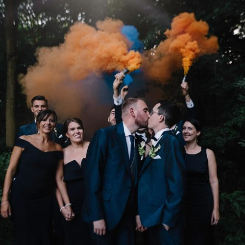 Wedding couple woodland smoke bomb photograph