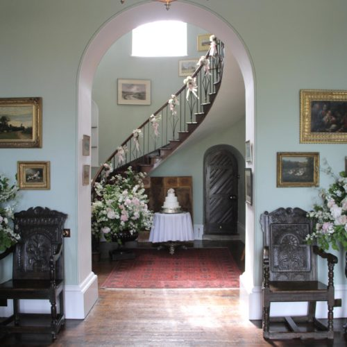Wedding flowers in the Hall at Homme House