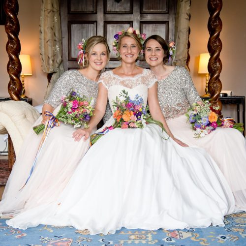 Bride and bridesmaids in the Bridal Suite at Homme House