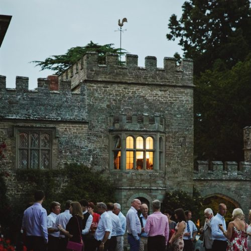 The Tower wing of Homme House during an evening wedding reception