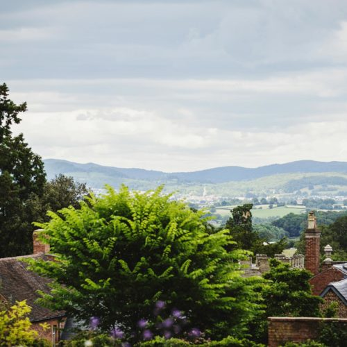 View of Malvern Hills from behind Homme House
