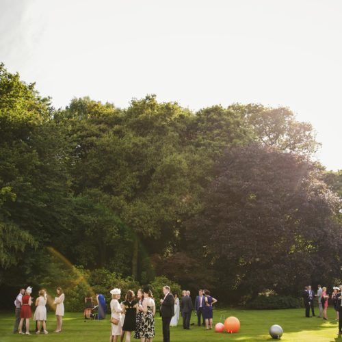 Homme House wedding reception on lawn