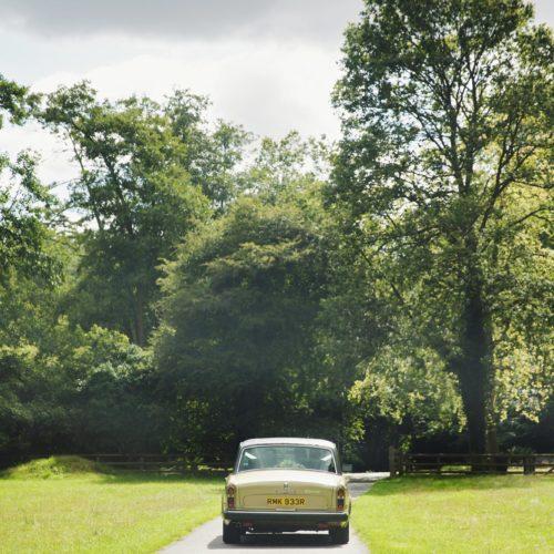 Wedding car in parkland