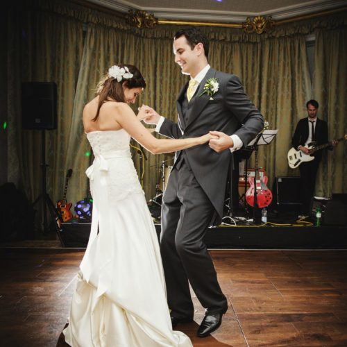 Wedding couple performing first dance