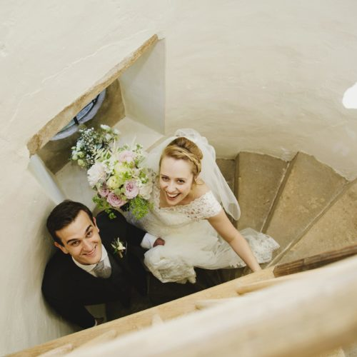 Wedding couple portrait on stairs of Summerhouse at Homme House