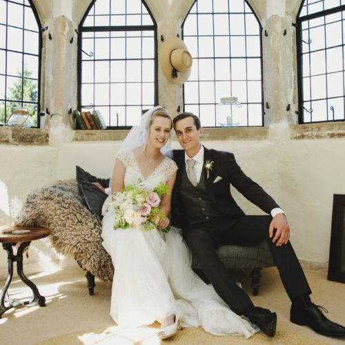 Wedding couple portrait in Summerhouse at Homme House