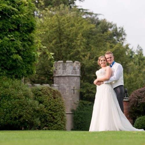 Wedding couple portrait on the lawn at Homme House