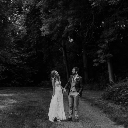 Wedding couple in Homme House's woodland