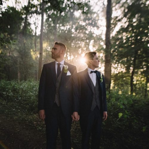 Wedding couple in woodland at Homme House