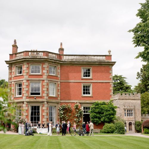 A wedding reception on the main lawn at Homme House