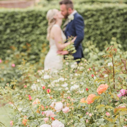 A wedding couple kiss in the rose garden at Homme House
