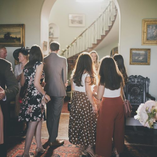 Wedding guests in the Hall at Homme House