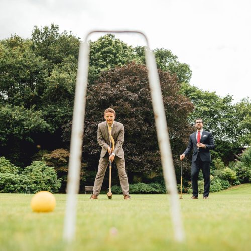 Wedding reception croquet on the main lawn at Homme House
