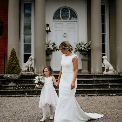 A bride and her daughter outside Homme House