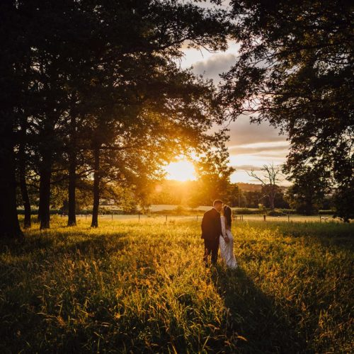 A bride and groom portrait in evening parkland light