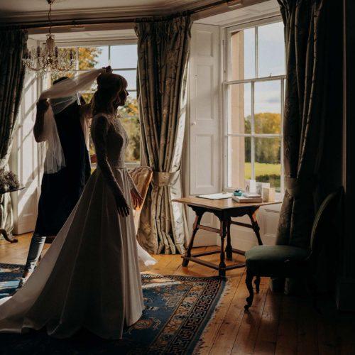 A bride prepares in the Bridal Suite