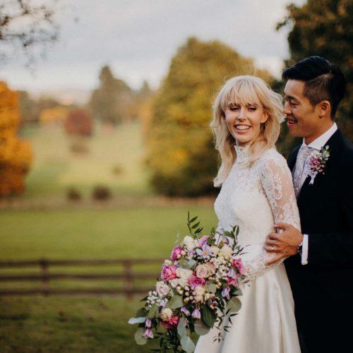 A wedding couple portait in the autumn light