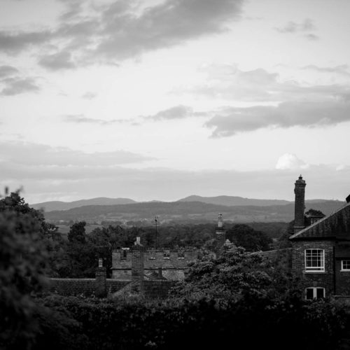 A view of the Malvern Hills from behind Homme House