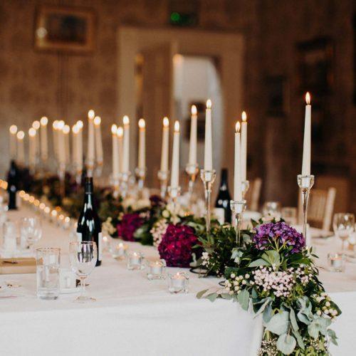A wedding breakfast table